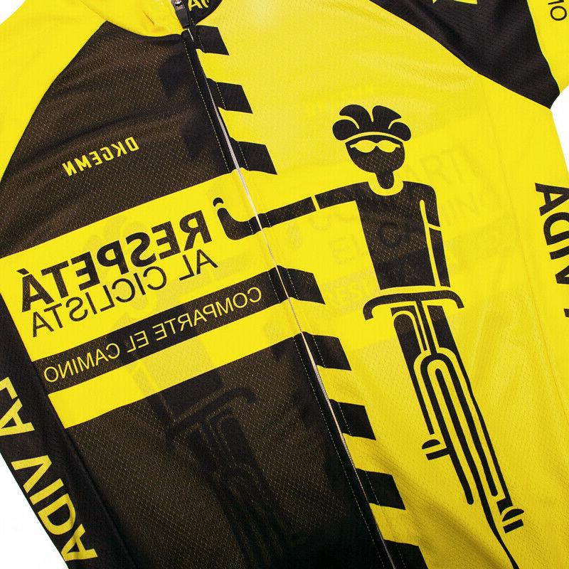 Yellow Bike Jerseys Cycling Tops 3 Pockets