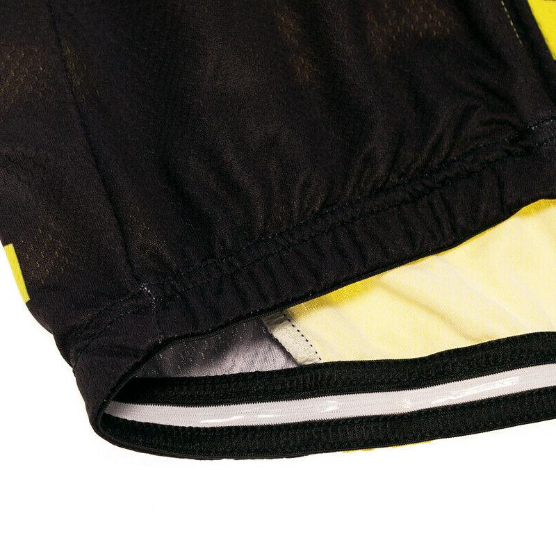 Yellow Mens Jerseys Cycling Tops Clothing Rear Pockets