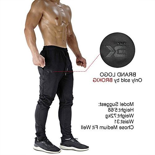 BROKIG Zip Pants - Casual Gym Fitness Slim Fit Bottoms Pants