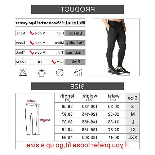 BROKIG Mens Zip Pants Casual Gym Fitness Comfortable Slim Fit Pants