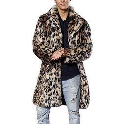 Mens Leopard Coat Duseedik Faux Fur Overcoat Warm Thick Fur