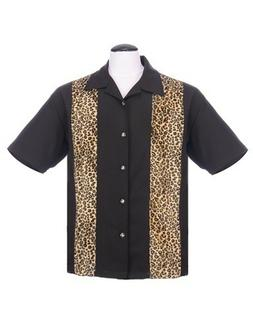Steady Clothing Leopard Panel Men's Button Up Shirt in Black