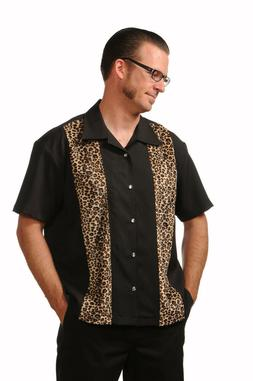 Steady Clothing Leopard Panel Punk Rockabilly Button Down Bo