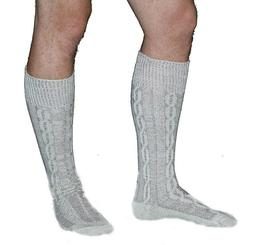 Long Embroidered German Lederhosen Cotton Socks Cream