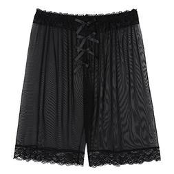 YiZYiF Men's Loose See Through Gauze Pants Lingerie Breathab