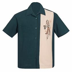 STEADY CLOTHING Mai Tai Mirage Button Up Bowling Shirt Teal
