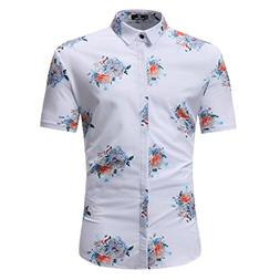 man floral printed shirts fashion casual short