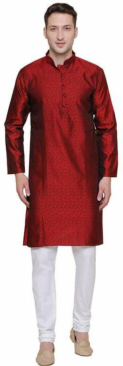 Maple Clothing Men's Kurta Pajama Jacquard Silk Indian Party