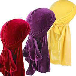 Ababalaya Men 2PCS/3PCS Stretchable Luxury Velvet Long Tail