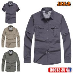 Men Button Front Shirt Quick Dry Long Sleeve Outdoor Hiking