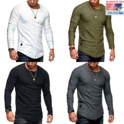 Men Clothes Long Sleeve Slim Fit O-Neck Muscle Tee T-shirt C