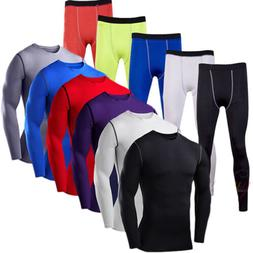 Men Compression Base Layer Tops Thermal Gym Sports Fitness T