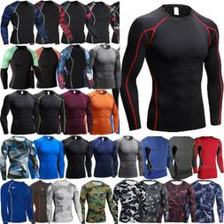 Men Compression Under Base Layer T-Shirt Gym Sports Long Sle