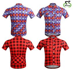 Men Cycling Classic Lattice Jersey Breathable Elastic Bike W