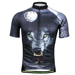 Men Cycling Jersey Big Bad Wolf Bike Shirts Team Biking Clot