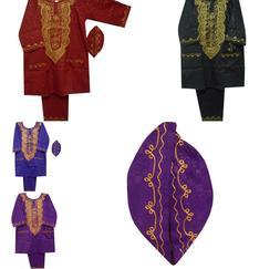 Men Dashiki Outfit Brocade Pant Suit African Clothing Tradit