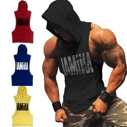 Men Gym Clothing Bodybuilding Stringer Hoodie Tank Top Muscl