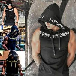 Men Gym Sleeveless Vest Bodybuilding Hooded Tank Top Muscle