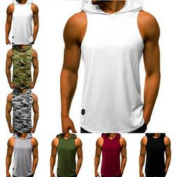 men gym vest bodybuilding hooded muscle clothing