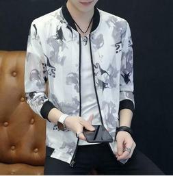 Men Jackets Outerwear Cardigan Tops Coats Stand Collar Sun p