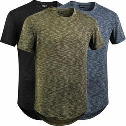 Men Jacquard Stylish T Shirt Swag Short Sleeve Curve Hem Hip