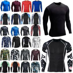 Mens Long Sleeve Muscle T-Shirt Baselayer Compression Gym Sp