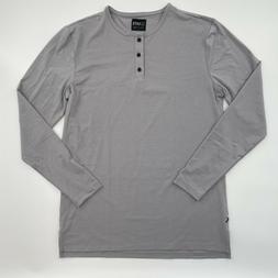 Cuts Clothing Men Long Sleeve Split Hem Henley T-Shirt Grani