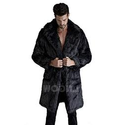 LNGOW Men Luxury Faux Fur Jacket Long Winter Warm Coat Soft