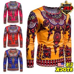 Men's African Clothing Dashiki Style Printing Tops Mexican H