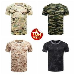 Men's Camo Short Sleeve T-Shirt Outdoor Hunting Breathable Q