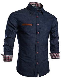 Coofandy Men's Casual Dress Shirt Button Down Shirts,01-ultr