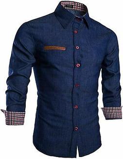COOFANDY Men's Casual Dress Shirt Button Down Shirts Long-Sl