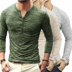 Men's Casual Slim Fit Long Sleeve Henley Shirts Button T-Shi