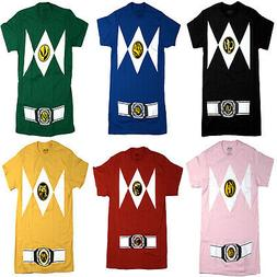 Power Rangers Men's Costume Style, Crew Neck, Short Sleeve T