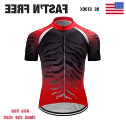 Men's Cycling Short Sleeve Bike Jerseys Red Bicycle Riding T