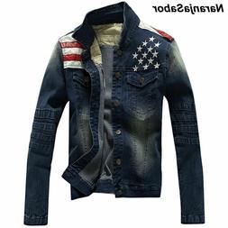Men's Denim Jean Jackets Pocket Star Striped Slim Fit Outerw