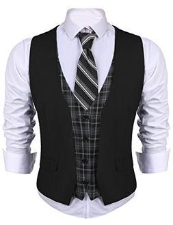 COOFANDY Men's Dress Suit layered Vest V Neck Plaid Patchwor