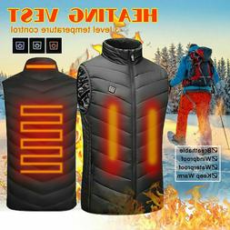 Men's Electric Vest Heated Jacket USB Warm Up Winter Pad Bod