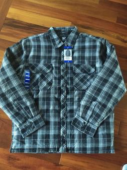 BC Clothing Men's Flannel Shirt Jacket Quilted Lining Gray-