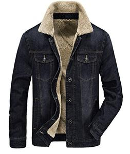 men s fleeced denim jacket winter fall