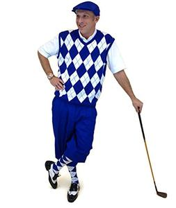 Men's Golf Outfit-Royal Knickers, Royal/White/Black Sweater,