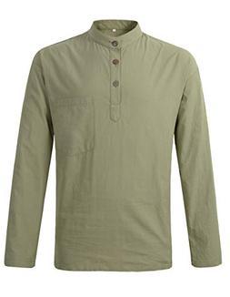 men s grandad plain collarless cotton long