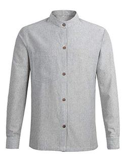 Lucasini Men's Grandad Striped Collarless Cotton Long Sleeve