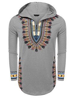 COOFANDY Men's Hippie Tribal Style African Dashiki Hoodie Sw