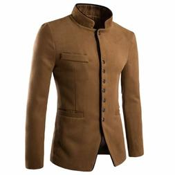 Men's Jacket Cotton Slim Type Formal Outerwear Solid Pattern