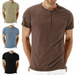 Men's Jacquard Knitted Casual Short Sleeve Henley T-Shirts S