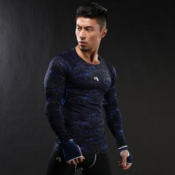 Men's Long Sleeve Sports Gym T-shirts Slim Fit Quick Dry Run