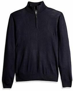 Goodthreads Men's Merino Wool Quarter Zip Sweater, Navy, Lar