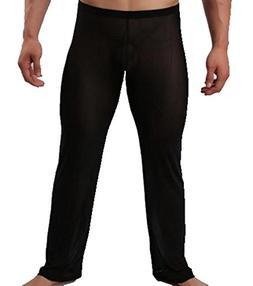 IGIG Men's Mesh Breathable Long Pants Homewear Gauze Temptat