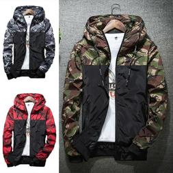 Men's Outwear Camouflage Coat Hoodies Jacket Clothing Windbr